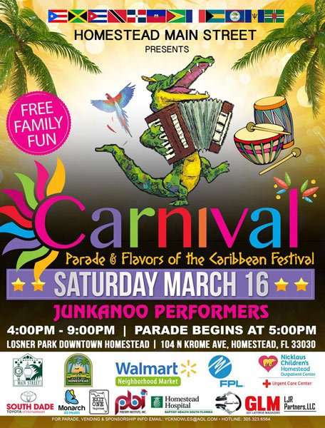 Homestead Main Street presents the Carnival Parade and Flavors of the Caribbean Festival from 4 to 9pm at Losner Park